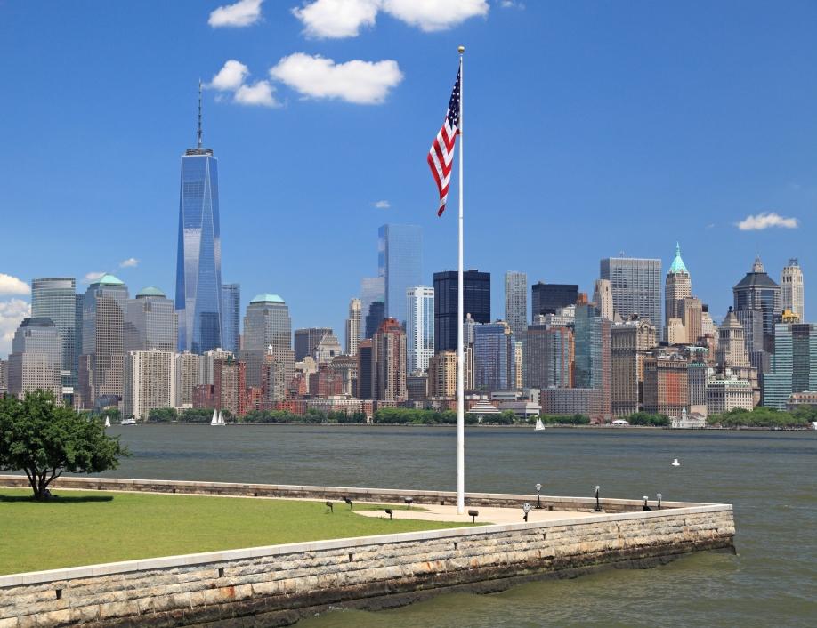 New York City skyline and Hudson River