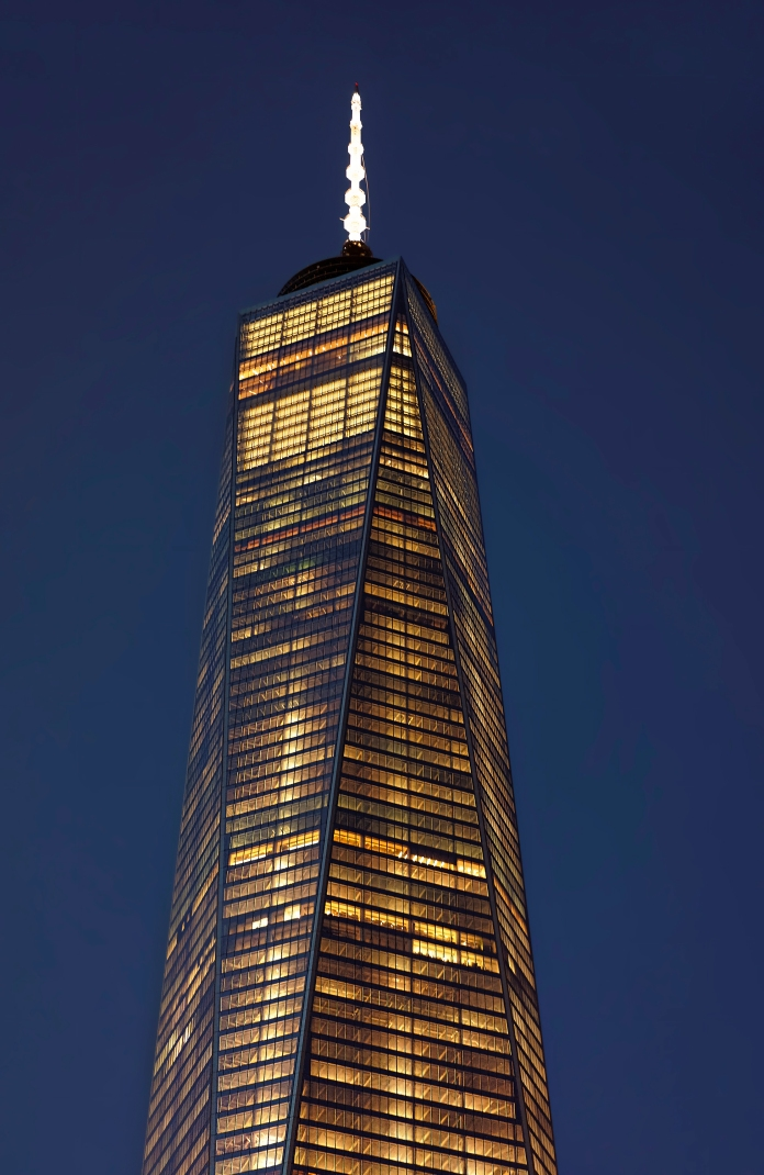 Close up of top facade of Freedom Tower, Lower Manhattan