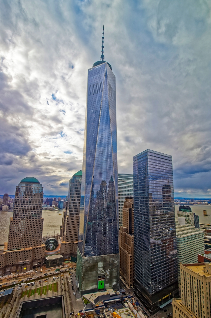Aerial view of National September 11 Memorial and Freedom Tower